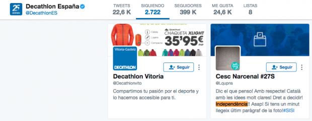 Decathlon se hace independentista: se anuncia en catalán, inglés y francés… pero no en español