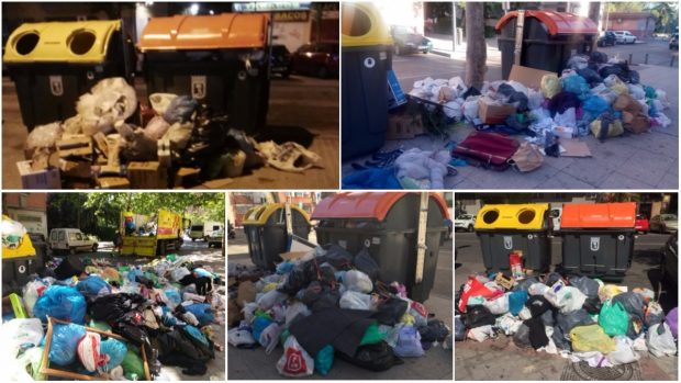 Cuelgan bolsas de basura en las farolas de Madrid por la falta de papeleras