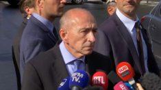 Gérard Collomb, ministro del Interior francés, atiende a los medios junto a Notre Dame.