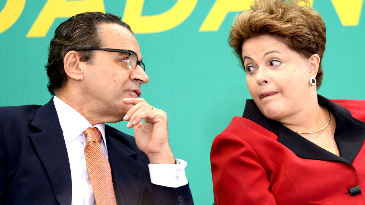 Henrique Eduardo Alves con la ex presidenta brasileña Dilma Rousseff (Foto: AFP).