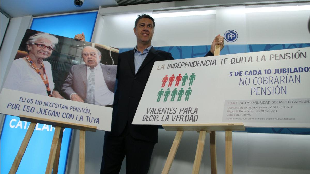 Xaver García-Albiol, líder del PP catalán, presenta la campaña en defensa de las pensiones y contra la independencia. (Foto: PP/Flickr)