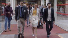 Lorena Ruiz-Huerta, junto a Pablo Iglesias y el resto de la plana mayor de Podemos (Foto: Francisco Toledo)