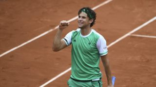 Thiem celebra su victoria ante Djokovic. (AFP)