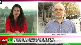 El podemita Ibrahim Miguel Ángel Pérez Ramírez, en una entrevista a la TV de Putin, Rusia Today.