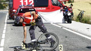 Imagen del lugar en el que fue atropellado mortalmente un ciclista este sábado en Navarra (Foto: Efe).