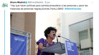 Mensaje difundido en las redes sociales por Ahora Madrid, la marca de Podemos encabezada por Manuela Carmena.