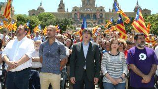 Junqueras, Guardiola, Puigdemont, Forcadell y el presidente de la ANC, Jordi Sánchez (Foto: Efe).