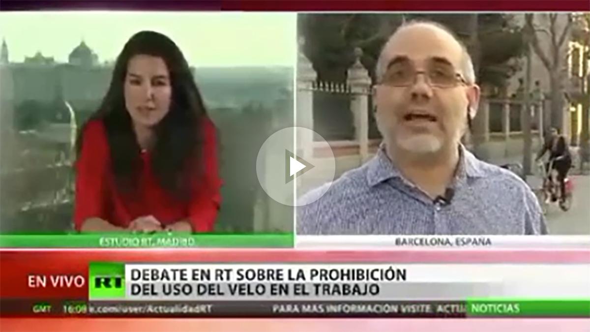 Ibrahim Miguel Ángel Pérez defiende el uso del velo en el canal internacional Rusia Today.