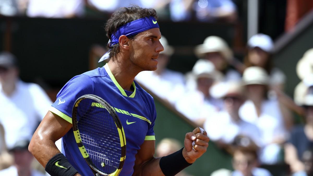 Rafa Nadal celebra un punto en la final de Roland Garros. (AFP)