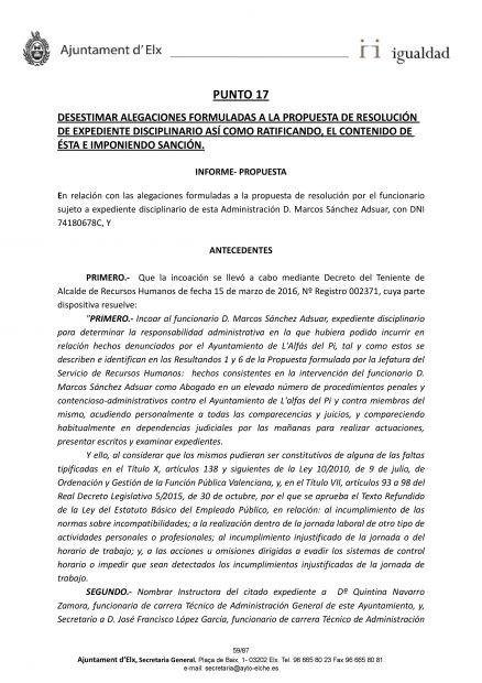 Informe del Ayuntamiento de Elche.
