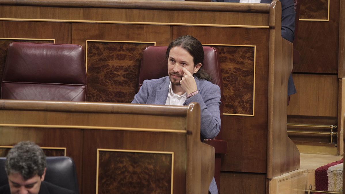 Pablo Iglesias durante el debate de la moción de censura. FRANCISCO TOLEDO