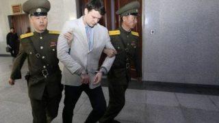 El estudiante Otto Warmbier, cuando fue apresado en Corea del Norte.