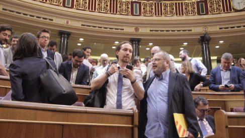 Pablo Iglesias, tras el debate de la moción de censura. Foto: Francisco Toledo.