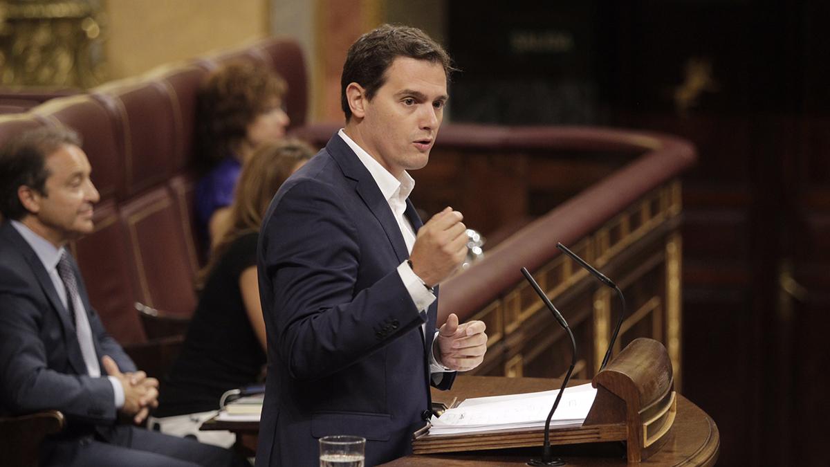 Albert Rivera durante el debate de la moción de censura de Podemos. FRANCISCO TOLEDO