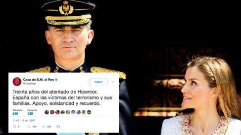 Los Reyes Felipe y Letizia, y su tuit en recuerdo de las víctimas del atentado de ETA en Hipercor.