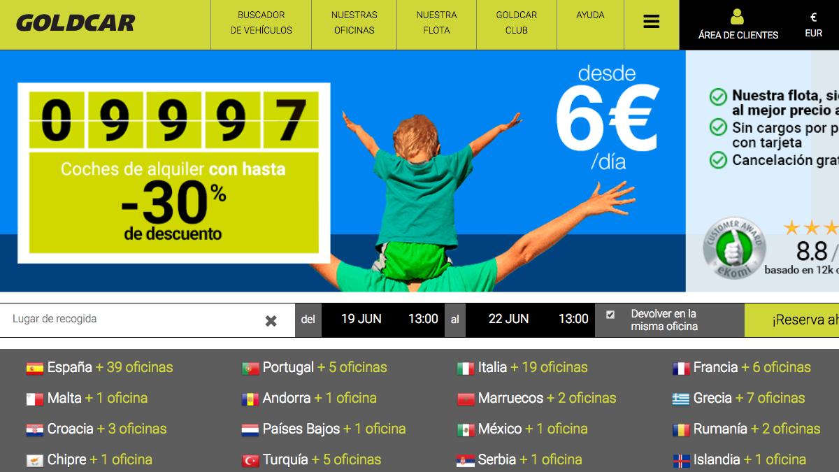 Página web de la compañía española Goldcar