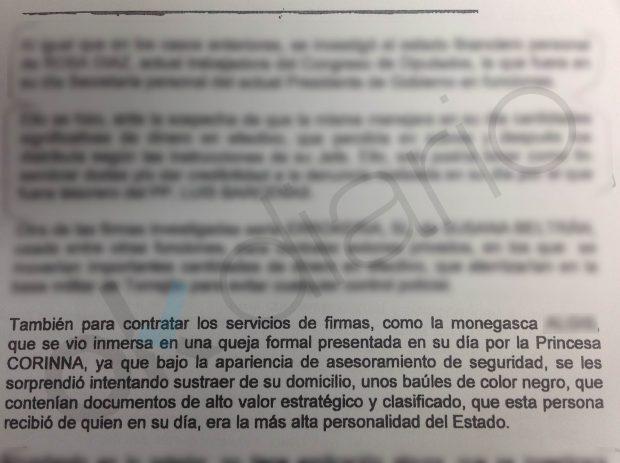 Informes policiales desvelan que el robo frustrado a Corinna se pagó con fondos reservados