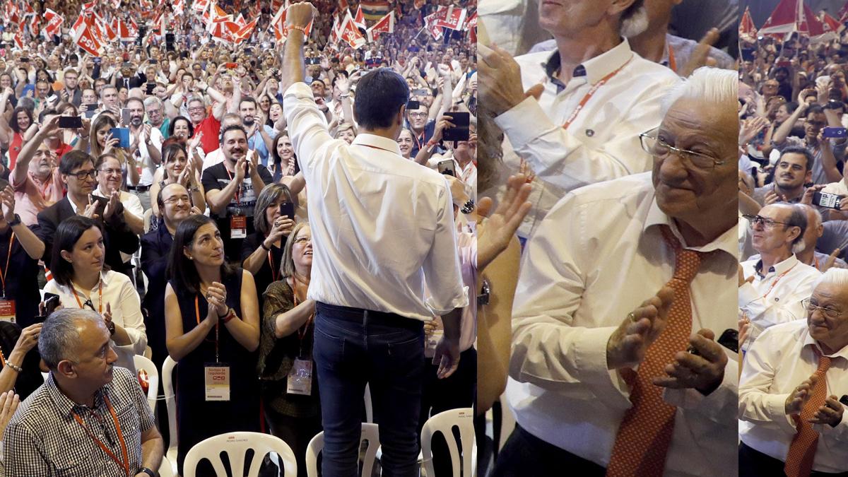 El padre Ángel (d) en el 39 Congreso Federal del PSOE. (Foto: EFE)
