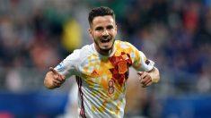 Saúl celebra su gol ante Portugal. (AFP)