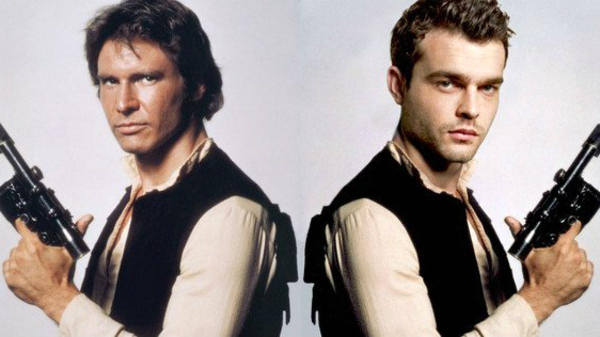 Alden Ehrenreich (dcha.), protagonista del 'spin-off' de Star Wars sobre la vida de Han Solo, y Harrison Ford.