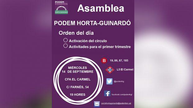 Convocatoria de asambleas y talleres de Podemos en el CFA El Carmel (Barcelona).