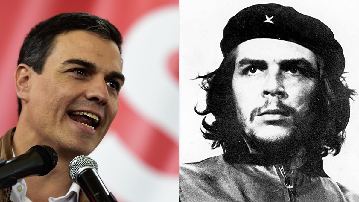 Pedro Sánchez y Che Guevara.