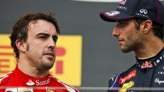 Daniel Ricciardo y Fernando Alonso. (Getty)