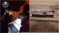 Hombre detenido y cinturón bomba falso. (Foto: PM)