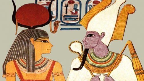 Representación de Isis y Osiris en una antigua pintura egipcia