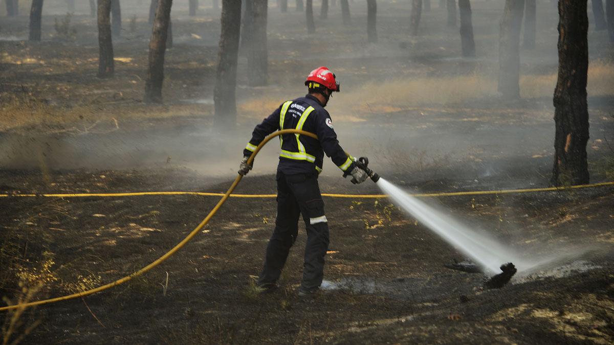 Los bomberos trabajan contra el fuego en Moguer y Doñana (Foto: AFP)
