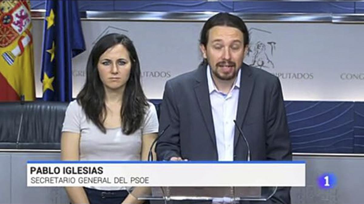 Rótulo de TVE sobre Pablo Iglesias.