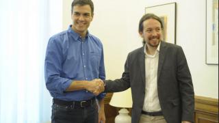 Reunión de Pedro Sánchez y Pablo Iglesias en el Congreso de los Diputados. (Foto: PSOE)