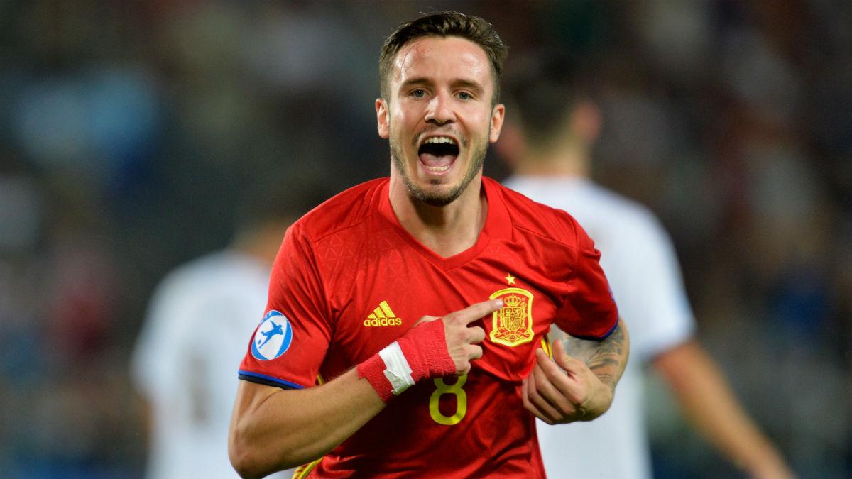 Saúl celebra uno de sus tres goles ante Italia. (Getty)