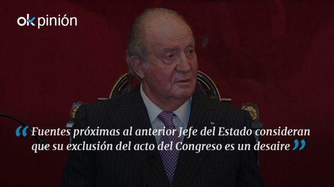El Rey Juan Carlos indignado por su exclusión del acto de las Cortes