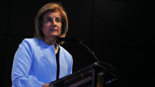 """Fátima Báñez, la ministra de Empleo y Seguridad Social, durante su inauguración del acto """"Forbes Summit Women"""" (Foto:Efe)"""