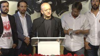 El diputado del PSOE, Odón Elorza, durante el acto antifranquista de Podemos en el Congreso