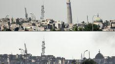 Entorno de la mezquita Al Nuri en Mosul antes y después de los combates. (Foto: AFP)