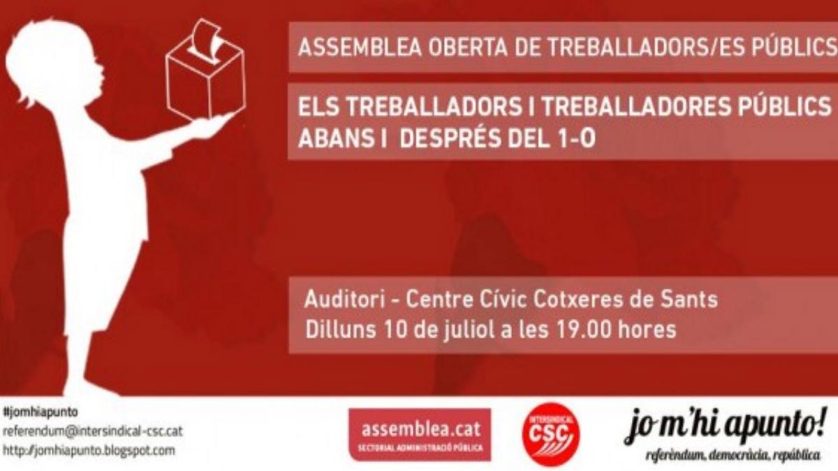 Cartel para convocar a los funcionarios en Cataluña. (Foto: ANC)