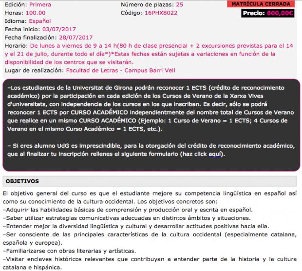 Estudiar lengua española en la Universidad de Gerona cuesta 5 veces más que el resto de cursos
