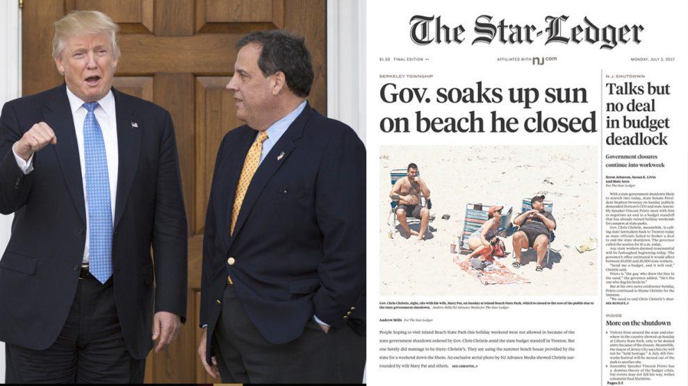 Donald Trump junto a Chris Christie (AFP) y a la derecha, el periódico de mayor tirada en New Jersey.
