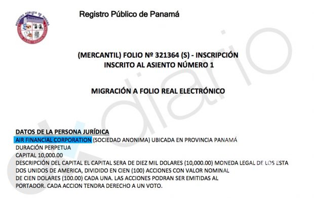 Inscripción de la sociedad Air Financial Corporation en el Registro de Panamá.
