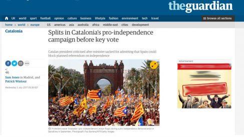 La noticia de 'The Guardian' que habla de los problemas internos que tienen los partidos independizas de Cataluña frente al referéndum ilegal.