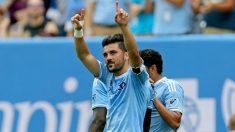 David Villa celebra un gol con el New York City.