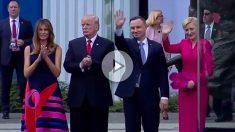 Melania y Donald Trump junto al presidente de Polonia y su mujer, Agata Kornhauser.