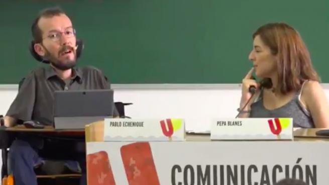 Pablo Echenique en su conferencia en la Universidad de Verano de Podemos