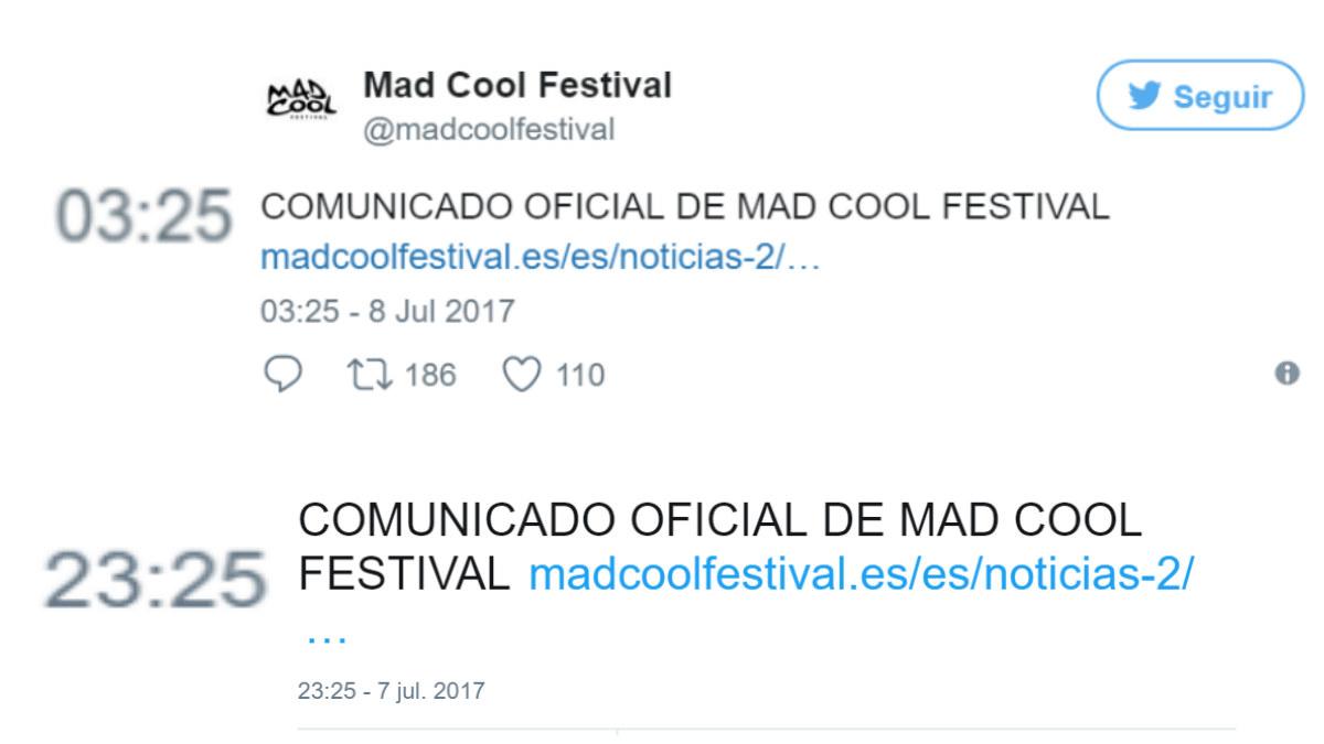 MAd Cool intenta falsear la hora de publicación del tuit sobre la muerte de una acróbata en el fesstival