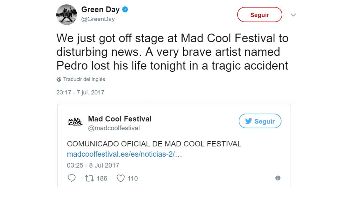 Green Day anuncia 4 horas antes la muerte del acróbata en el MAd Cool que la organización del festival.
