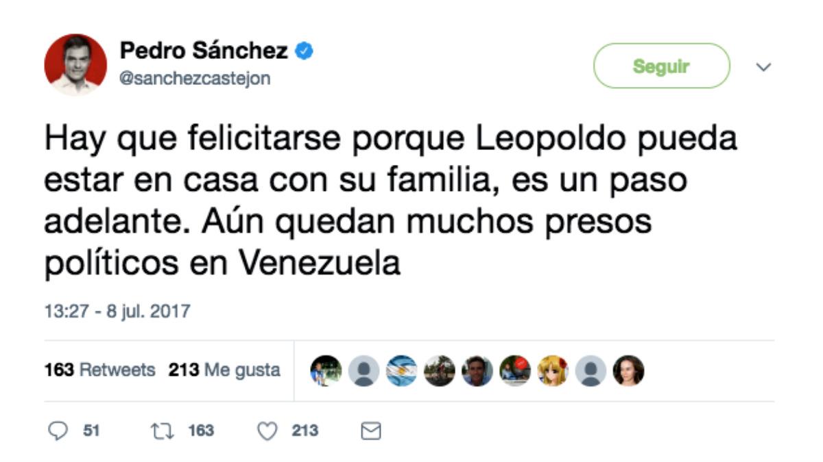 Tuit de Pedro Sánchez celebrando la liberación de Leopoldo López.