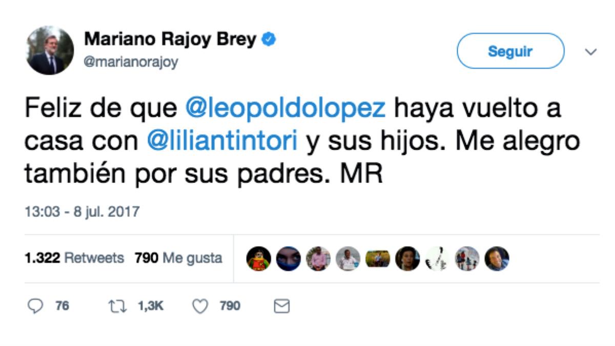 Mariano Rajoy ha confirmado la «feliz» noticia de la liberación de Leopoldo López.