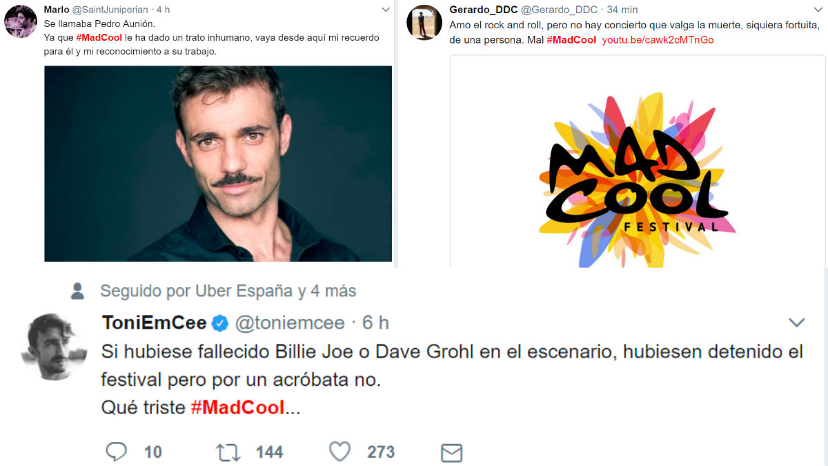 DEsde la muerte del aróbata el hilo de tuits criticando la decisión del Mad Cool de continuar con la programación no deja de crecer.